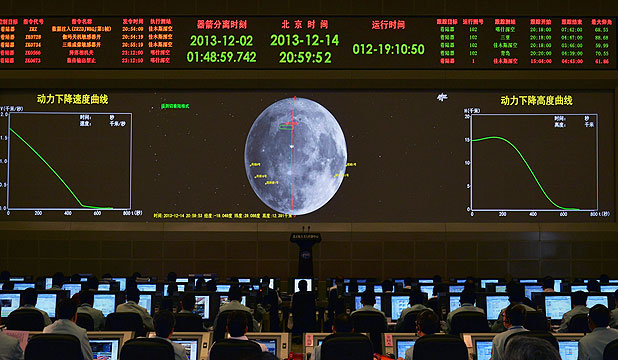 MISSION CONTROL: A giant electronic screen displays the mission operation information of China's Chang'e-3 lunar probe at the Beijing Aerospace Control Centre, in Beijing.