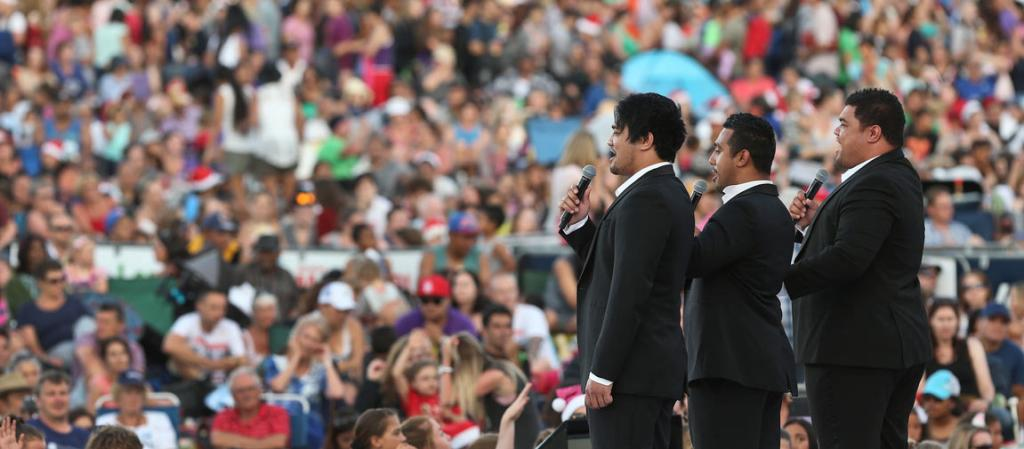 SOL3 MIO: Delivering a powerful performance during Coca Cola Christmas in the Park held at the Auckland Domain.