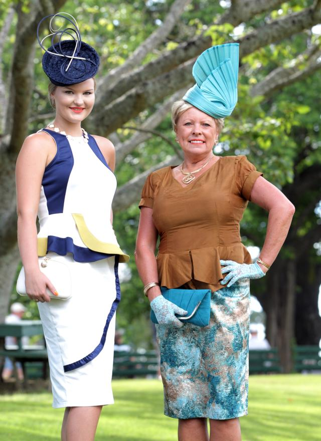 Fashion in the Fields winner Eleanor Campbell, left, and runner up Christine Verrion-Clarke.