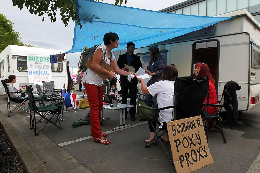 CAMPING OUT: Earthquake claimants have set up several protest caravans in the Southern Response carpark.
