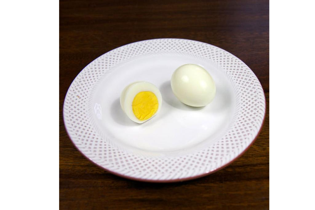 EGGS: 1 3/5 hard boiled eggs (10.1 grams of protein; 124 calories).