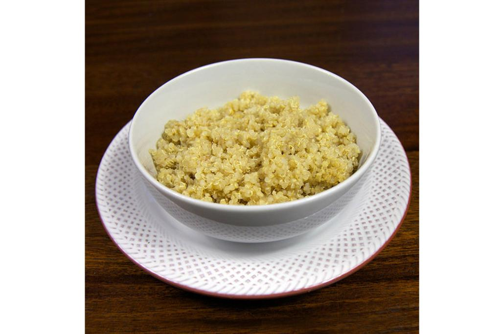QUINOA: 1 1/4 cups, cooked (10.2 grams of protein; 278 calories).