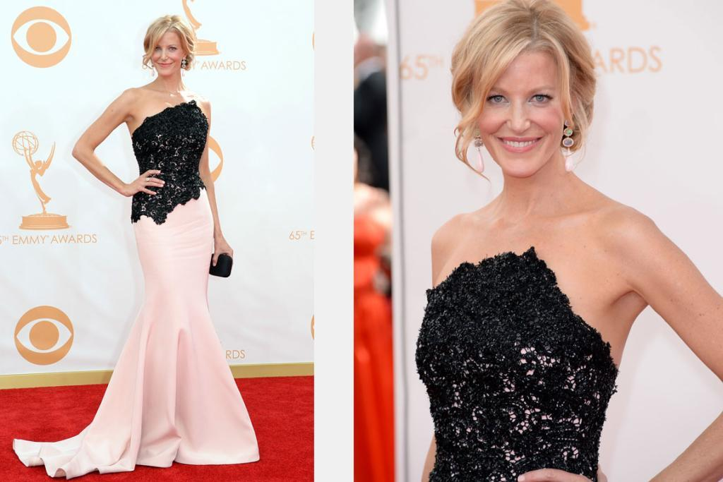 THE BEST - ANNA GUNN, SEPTEMBER: Breaking Bad's Anna Gunn usually under-whelms on the RC, but not in this blush silk and black beaded assymetrical neckline Romona Keveza gown. It's dramatic and yet timeless; sculptural and yet fits her form perfectly - making her the best dressed at this year's Emmys.