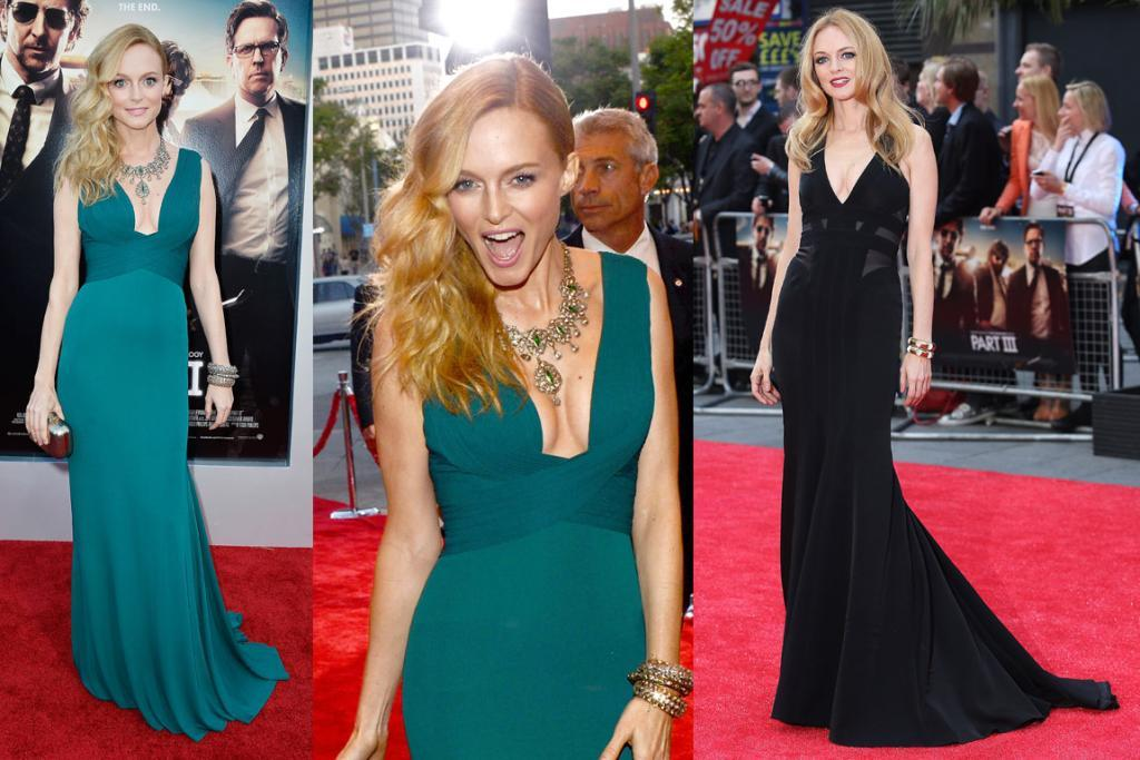 THE BEST - HEATHER GRAHAM, MAY: How does she make wearing a full-on evening gown look so effortless and kind of rock'n'roll? Heather Graham's Hangover III prem-trail was a success. To the left she's working a hard-to-pull-off neckline in a Herve L Leroux bright green gown. And then, to the right, she's a touch goth but still full-glam in Max Azria Atelier. Perfect hair and makeup top off both looks.