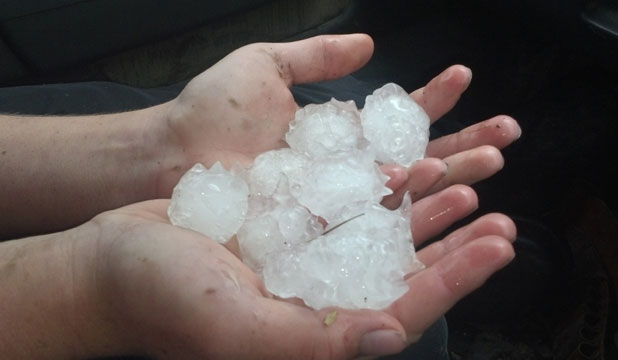 HAIL HANDFULS: The hail fell in Mayfield.