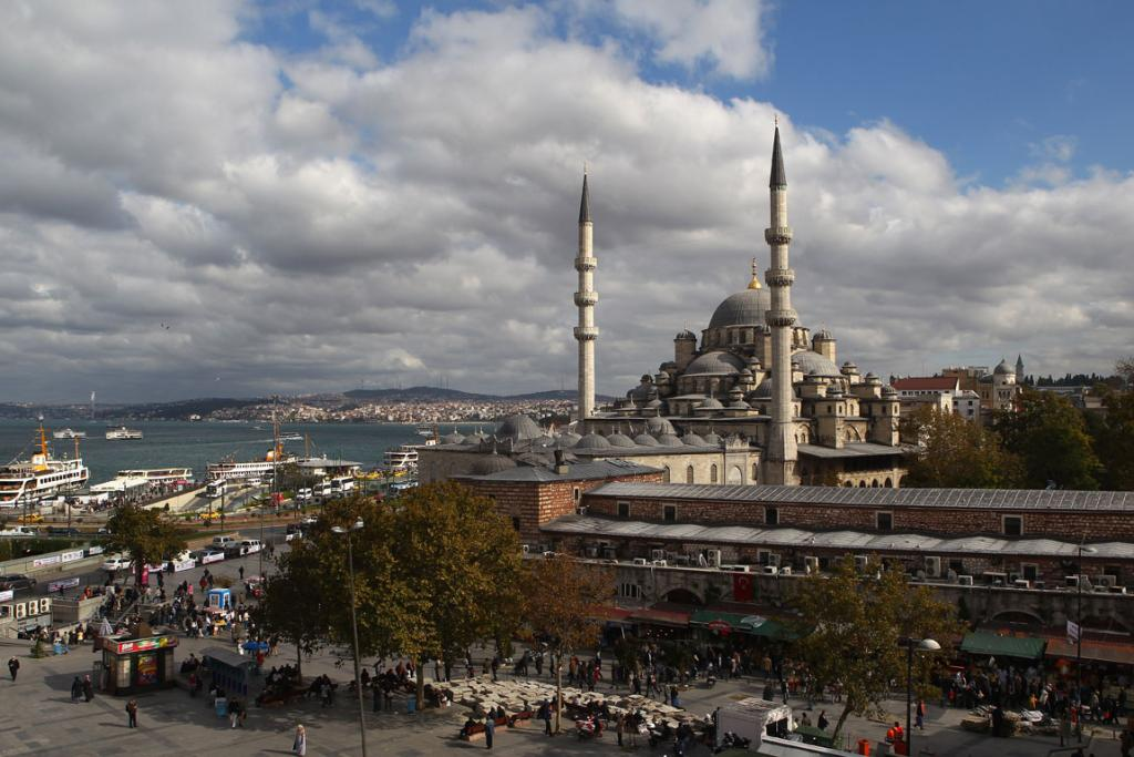 The Yeni Camii, The New Mosque in the Eminonu district in Istanbul, Turkey.