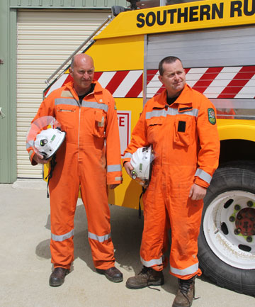 Blackmount Volunteer Rural Fire Force chief Neil Robertson, left, and deputy chief David Coveney are part of the 17 Blackmount volunteers who sacrifice their time as part of the Southern Rural Fire Authority.