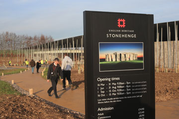 People walk towards the new Stonehenge visitor centre and exhibition centre.