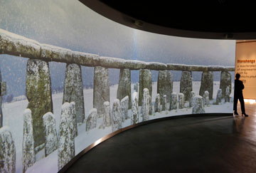 A 360 degree virtual experience video display showing Stonehenge is played at the new exhibition centre.