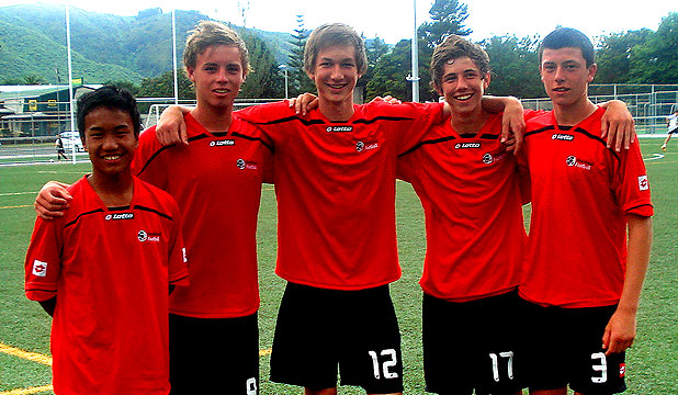 STAR QUALITY: Nelson's five Mainland Football representatives playing at the national federation talent tournament in Wellington,   Van Rolan Hlawnceu, Jamie Creswell, Bertie Fish, Mat Tod-Smith, and Lewis Miccio.