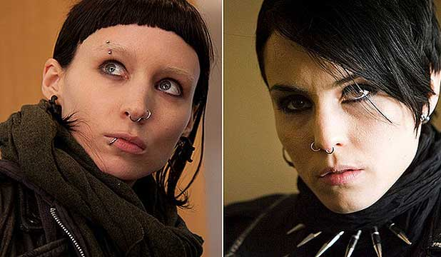 GIRLS WITH DRAGON TATTOOS: Rooney Mara (left) and Noomi Rapace have both portrayed Lisbeth Salander in the cinematic adaptation.