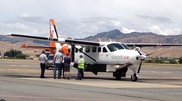 A Cessna Caravan operated by Sounds Air made an emergency landing at Marlborough Airport today