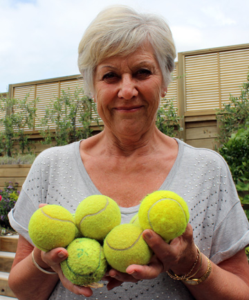 NO BALL: Kathy Bigwood says children from a neighbouring school have targeted her home with tennis balls and mud pies.