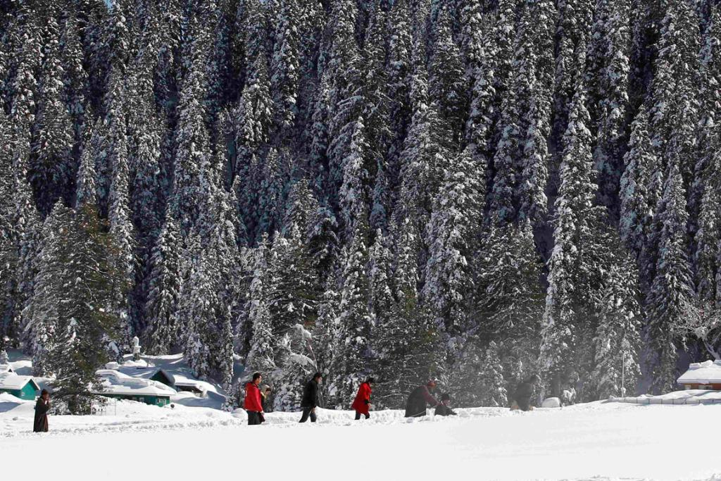 Tourists walk past snow-covered trees in Gulmarg.