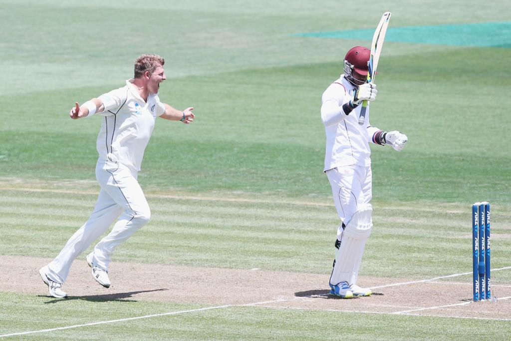 Corey Anderson celebrates after dismissing Marlon Samuels.