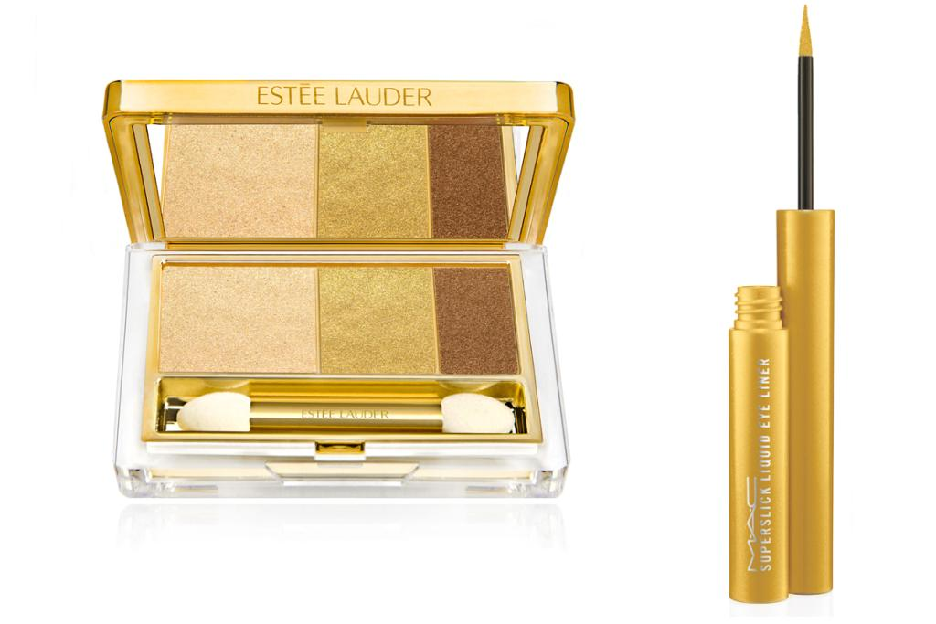 Estée Lauder's Pure Color Instant Intense EyeShadow Trio in Gilded Chocolates, $79 and the MAC Superslick Eye Liner in Pure Show, $42.