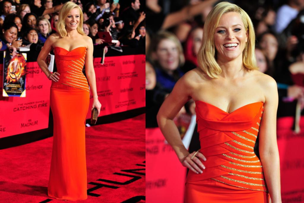THE BEST - ELIZABETH BANKS, NOVEMBER: The bodice on this hot orange Versace dress may just be the most cleverly-pleated thing I've ever seen. It's so flattering I'm almost confused.