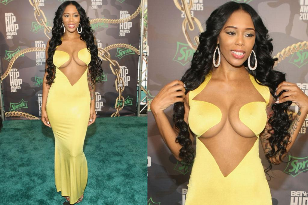THE BAD - BAMBI, OCTOBER: Bambi is a 'former 'Basketball Wives Of LA co-star' and has clearly come to the BET Awards as a half-peeled banana - 'psst, Bambs, it's Halloween at the END of the month'. Now ... logistics ... how is that material so pasted down on her lady lumps ... are they just using glue these days?