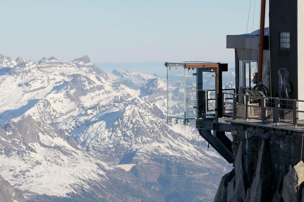 View of the 'Step into the Void' installation at the Aiguille du Midi mountain peak above Chamonix, in the French Alps.