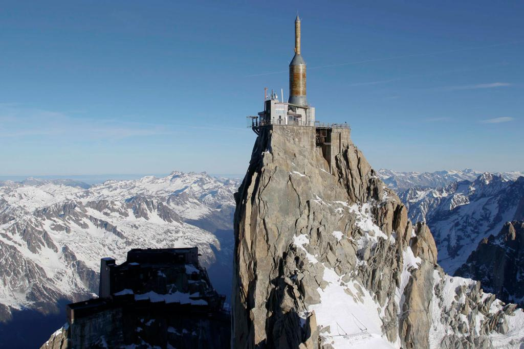 The Chamonix Skywalk is a five-sided glass structure installed on the top terrace of the Aiguille du Midi (3842m), with a 1,000 metre drop below, where visitors can step out from the terrace, giving the visitors the impression of standing in the void.