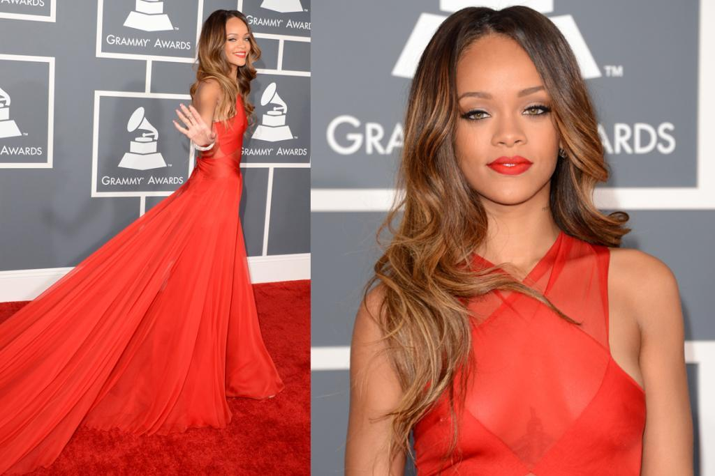 THE BEST - RIHANNA, FEBRUARY: Rihanna hit a six with this custom Azzedine Alaia dress at The Grammys. It fits perfectly and her make-up showcases just how beautiful she is. This is the best I've ever seen her look (every time I blink I picture her later-in-the-year all-mulleted-up and internally scream 'WHY!!!!').