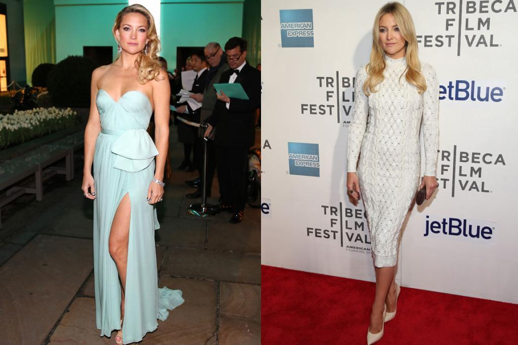 THE BEST - KATE HUDSON, APRIL: I love Lebanese designer Reem Acra's feminine gowns, and this chiffon dress Kate wore earlier in the year is no exception - I think seafoam may officially be Kate Hudson's colour. And to the right she made this Jenny Packham knee-length-tight-white-high-neck-cable-knit dress work (how bad does that sound on paper?): two brilliant outfits in one week.