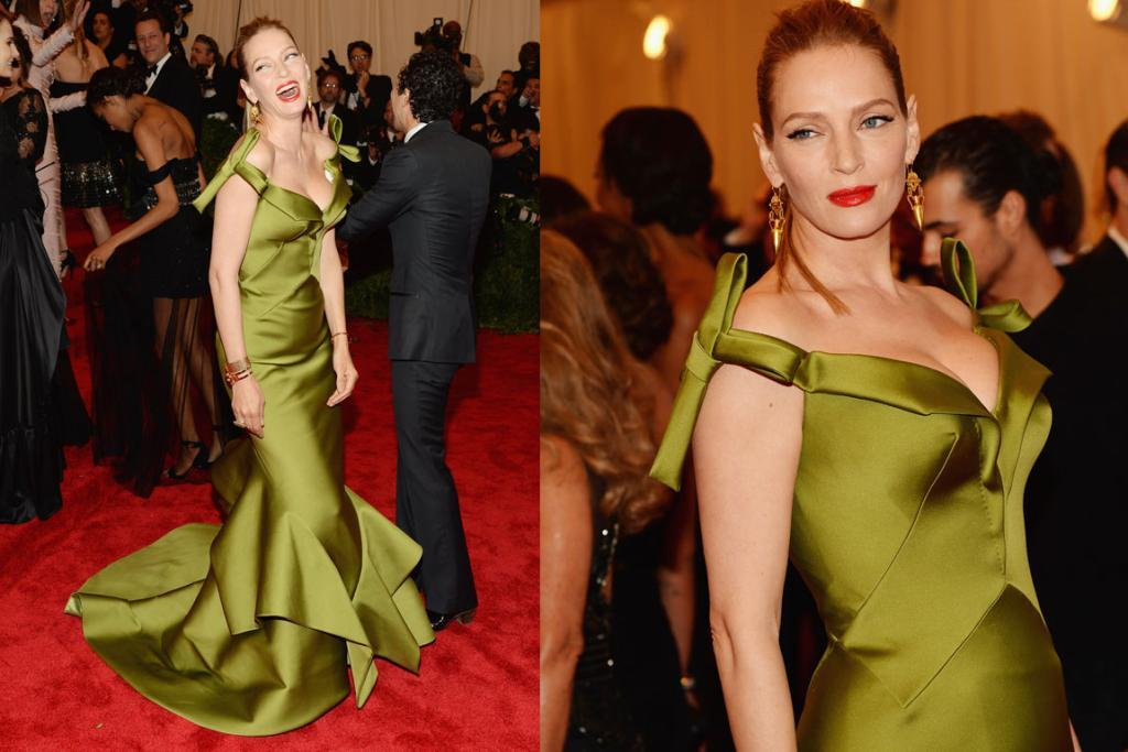 THE BEST - UMA THURMAN, MAY: This is the best 43-year-old Uma Thurman has looked on the red carpet in a long time. The colour of the green Zac Posen creation works perfectly on her and the cut flatters her gorgeous curves. She did look like she was ready for the Oscars rather than the Met Gala though.