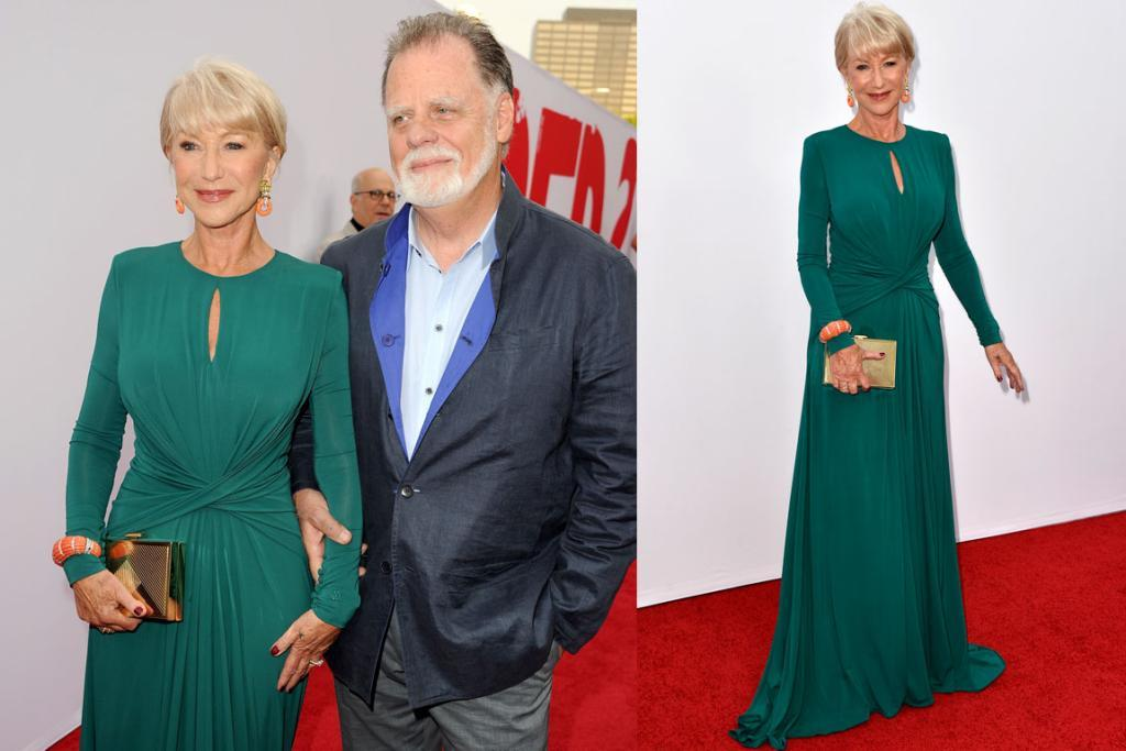 THE BEST - HELEN MIRREN, JULY: This fashion moment confirmed something I've thought for a long time: Elie Saab is pretty much a genius when it comes to flattering the female form. I love the contrast of the coral and green, I love how the strong shoulders and clever draping truly flattered the 67-year-old's figure. I also love that she wore Perspex 'stripper heels' underneath the dress - because nobody can see them and it just proves she's got a great sense of humour (am also digging her hubby's lapels).