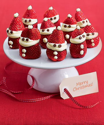 STRAWBERRY SANTAS: A sweet way to enjoy your Christmas berries.