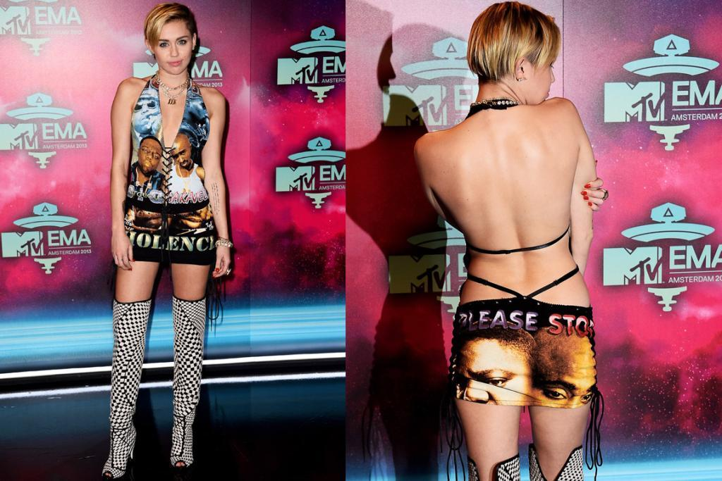 "THE WORST - MILEY CYRUS, NOVEMBER: If anyone deserves to be on here twice, it's the queen of 2013. I love what Miley Cyrus is saying in this bespoke number as her ""Please Stop Violence"" dress is relevant at a time when gun violence in the US is rampant ... BUT ... I can't help but feel like Tupac and Biggie's heads melting together look like an upside down bum on her bum: design flaw. Oh, and I also have an irrational fear of lace-up fronts on tops. Oh, yeah, and knee high boots with peep toes (these are Tom Ford). Good message, bad delivery."