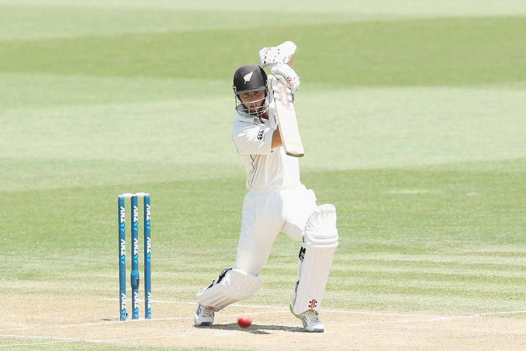 Kane Williamson plays an off drive during his innings of 58.