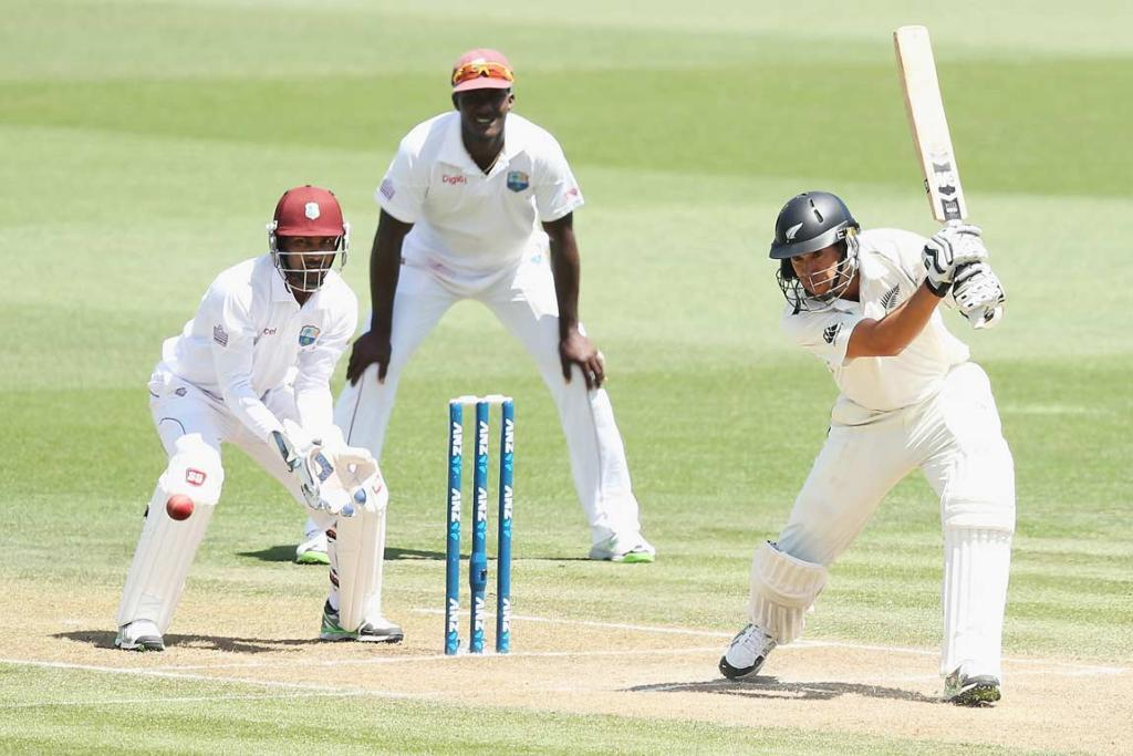 Ross Taylor slashes the ball away as he reached 56 not out at stumps on day two.