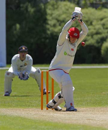 LETTING IT GO: Tom Latham lets a ball go outside off-stump during his innings of 137 not out of day one of Canterbury's Plunket Shield match against Wellington.