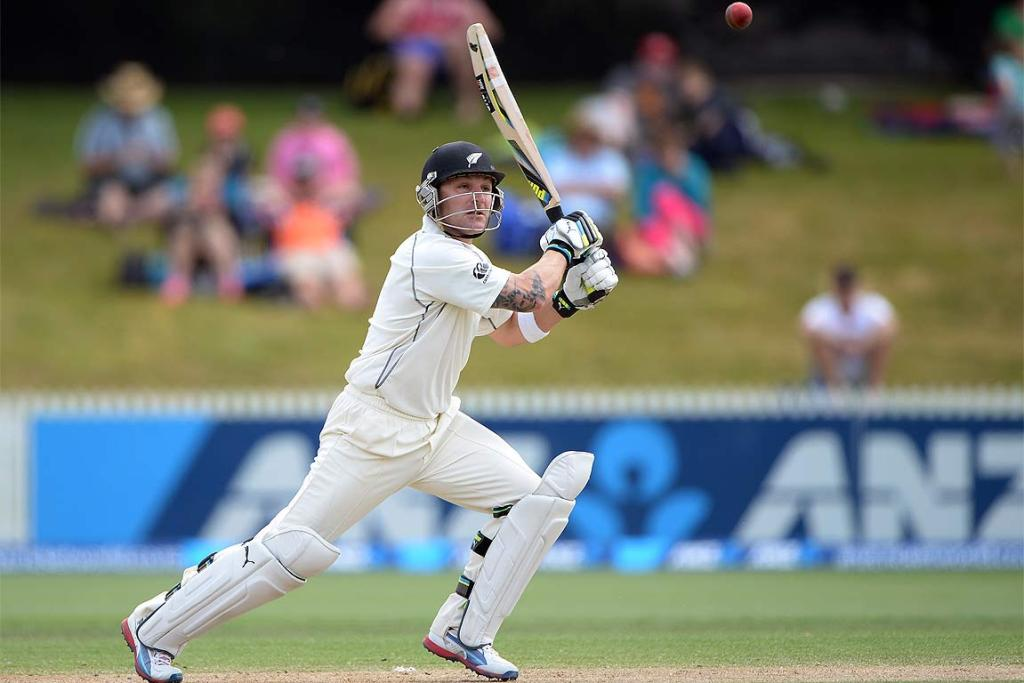 Brendon McCullum in action for the Black Caps in Hamilton.