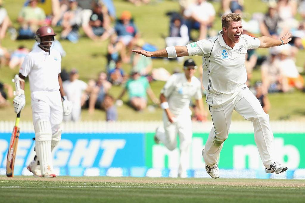Corey Anderson celebrates the wicket of Marlon Samuels.
