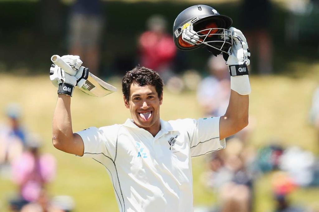 Ross Taylor savours the moment after scoring his third century in as many test matches.