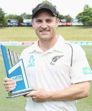 Brendon McCullum with the ANZ series trophy after the Black Caps beat the West Indies in the third test to claim the series.