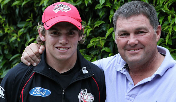 FATHER AND SON:  Tom Latham (left) bettered his father, Rod's, highest score for Canterbury at the weekend.