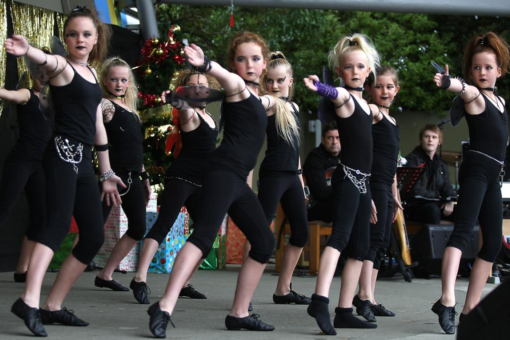 Dancers from Rage Studios perform for the crowd at Christmas on the Bay 2013.
