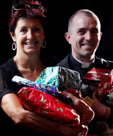 Chaos cafe owner Kerry Vosseler and the Taranaki Cathedral dean Jamie Allen are running the Give Something Back initiative this Boxing Day.