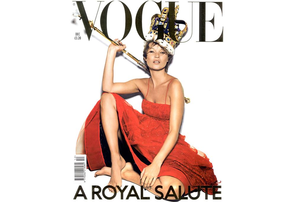 BRITISH VOGUE: Kate Moss dresses up as royalty for British Vogue, complete with crown and sceptre-cum-back scrather, ahead of the Queen's Golden Jubilee in 2001.
