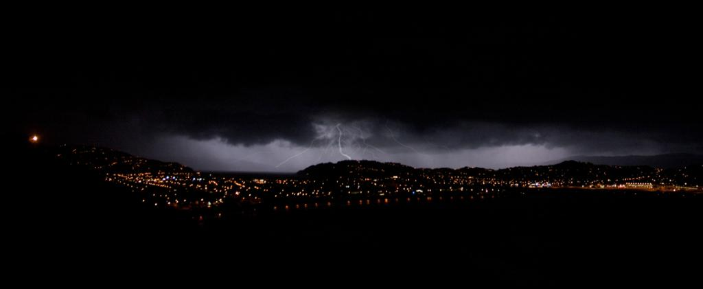 All lit up: Shane Perry took this spectacular lightning picture from Lyall Bay, Wellington, in May 2013.