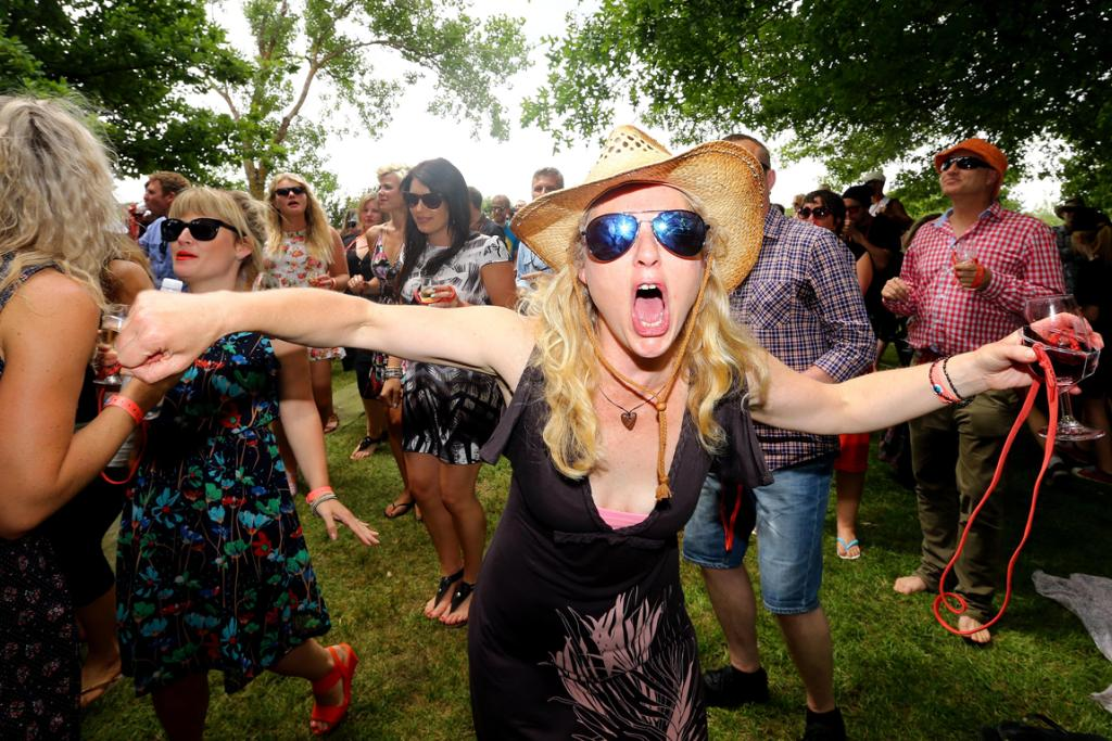Feeling it: Meredith Kettell gets into the occasion at Toast Martinborough.