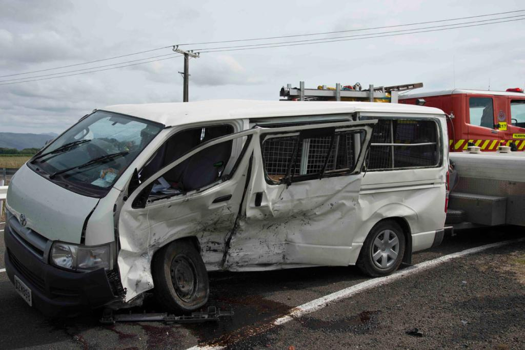 T-BONE: The side of the van took the impact from the Nissan Skyline.