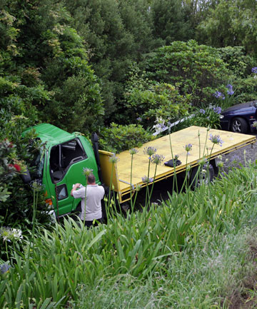 A truck crashed on Taranaki's main route north this morning.