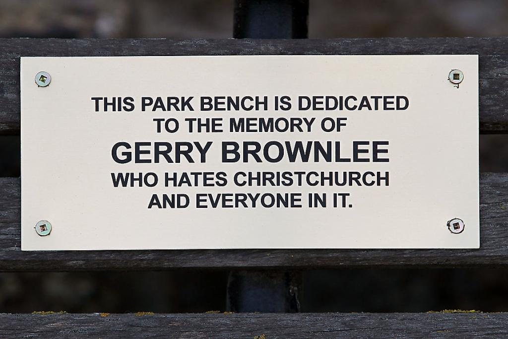 MYSTERY: A plaque was removed soon after it appeared on a bench outside C1 Espresso.