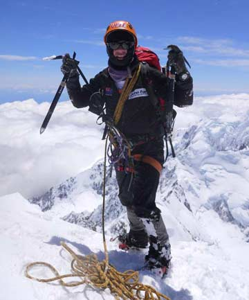 JET FUELED: Grant Rawlinson on the peak of Mt Cook on Sunday.