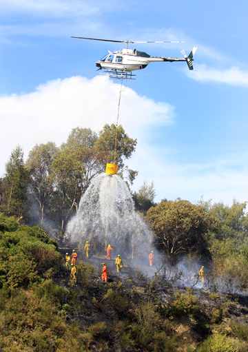 Cooling the fire fighters and damping down the hot spots