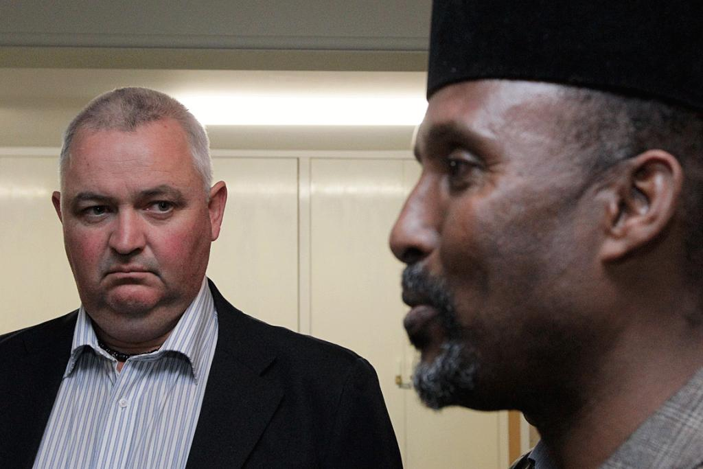 MAKING PEACE: New Zealand First MP Richard Prosser meets with local Muslim leader Hassan Haji Ibrahim after publishing an article on Muslim terriorists.