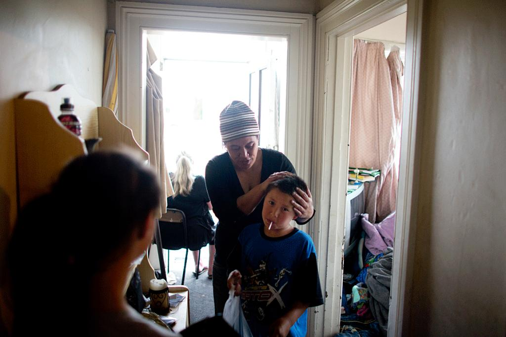 EXHAUSTED: Nellie Hunt and son Manawa, 9, are moving into Waltham Park after being evicted from their rental home.